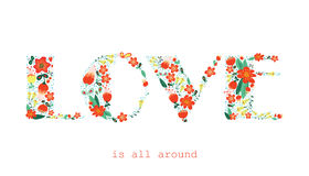 Floral card with Love word Stock Photos