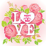 Floral card with Love word on pink roses flowers background and Stock Photos