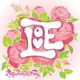 Floral card with Love word on pink roses flowers background and Stock Image