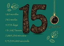 Floral card with Number Fifteen and Pocket Watch Royalty Free Stock Photos
