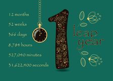 Floral card with Number One and Pocket Watch Stock Images