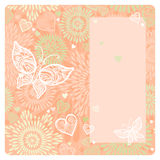 Floral card with pink ornament, butterfly. Invitation card with lace ornament, butterfly and large heart. Template frame design for wedding and greeting card Royalty Free Stock Images