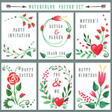 Floral card set with Watercolor Red flowers Royalty Free Stock Image