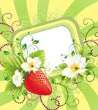Floral card with strawberry Royalty Free Stock Photos
