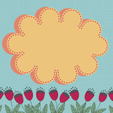 Floral card with stylized flowers and cloud design element. Royalty Free Stock Photo