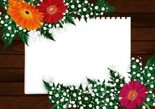Floral card template. Illustration of greeting or invitation card template with gerbera daisy flowers, gypsophila, fern branches, blank paper sheets and wooden Stock Photos