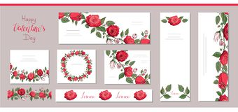 Set of floral card templates with red roses and lettering. Endless horizontal brush with roses. Use for stickers, tags royalty free illustration