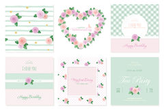 Floral card templates set. Birthday, valentines, wedding, baby shower, notebook cover. Patterns and frames. Royalty Free Stock Images