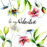 Floral card with title be my Valentine. Watercolor painting Stock Photography