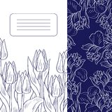 Floral card with tulips and irises Stock Photo