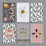 Floral card. Floral wedding card. Modern floral design in six different combinations. It contains golden elements Royalty Free Stock Images