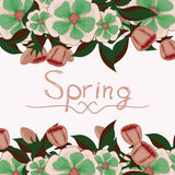 Floral card with the word spring Stock Photos
