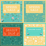 Floral cards with banners for custom text stock image