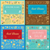 Floral cards with banners for custom text Royalty Free Stock Image