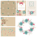 Floral cards collection for Valentine's day design Royalty Free Stock Image