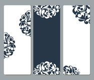 Floral cards with rounded corners. Vector template set with copy space Royalty Free Stock Image