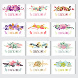 Floral cards set. 12 elegant cards with floral bouquets, design elements. Can be used for wedding, baby shower, mothers day, valentines day, birthday cards Stock Photo