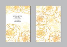 Floral cards set. Elegant cards with marigold flowers, design elements. Can be used for wedding, baby shower, mothers day, valentines day, birthday cards