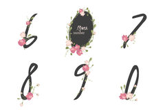 Floral carnation collection numbers in vintage color. Six, seven, eight, nine, zero- signs vector Royalty Free Stock Photography