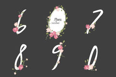 Floral carnation collection numbers in vintage color. Six, seven, eight, nine, zero- signs vector Stock Photos