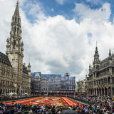 Floral carpet 2014 in Brussels. BRUSSELS - AUGUST 2014 : Floral Carpet in Grand Place on August 16, 2014 in Brussels. This event takes place every 2 years; in stock image