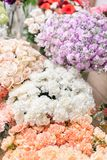 Floral carpet, flower texture, shop concept. Beautiful fresh blossoming flowers roses, spray roses, lilac gillyflower stock photo