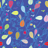 Floral cartoon seamless pattern Royalty Free Stock Photography