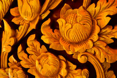 Floral carvings. Carven flower Wood working art crafts Wood carving Floral carvings carpenter technician Stock Photo