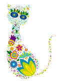 Floral cat Stock Images