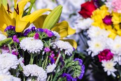 Floral Centerpiece with Lilium Plants stock photos