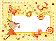 Floral children`s frame with butterfly. Stock Photo