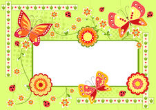 Floral children`s frame with butterfly. Stock Photography