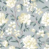 Floral chinese seamless pattern. Garden flower background. royalty free illustration