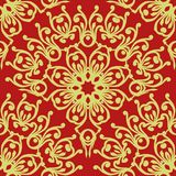 Floral Chinese Seamless Pattern On Red Background Royalty Free Stock Photography