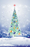 Floral christmas tree. (vector background Royalty Free Stock Images