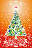 Floral christmas tree. (vector background Stock Image