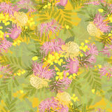 Floral chrysanthemum and mimosa flowers retro vintage background Stock Images