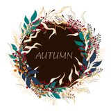 Floral circle background. Round autumn illustration with leaves, herbs and berries. Text in the middle royalty free illustration