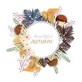 Floral circle background. Round autumn illustration with leaves, herbs and mushrooms. vector illustration