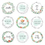 Floral circle doodle frames. Circular laurel wreath, flourish monogram borders, hand drawn botanical shapes. Vector. Florist frames set vector illustration