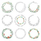Floral circle doodle frames. Hand drawn linear round borders, florist vintage design elements. Vector doodle circular stock illustration