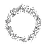 Floral circle frame  Flourish ethnic background. Flower rose greeting card. Floral frame round shape with summer flowers. Floral bouquet with rose. Vintage Stock Photos