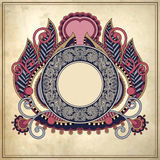 Floral circle frame on grunge paper background, Stock Photos