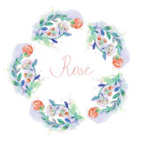 Floral circle frame with roses - watercolor style Royalty Free Stock Photos