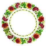 Floral circle. Hand drawn, , illustration in Ukrainian folk style Royalty Free Stock Photos