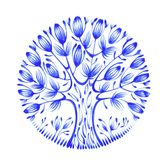 Floral circle. Hand drawn, illustration in Ukrainian folk style Stock Photos