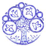 Floral circle. Hand drawn, illustration in Ukrainian folk style Royalty Free Stock Photo