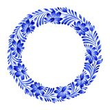 Floral circle. Hand drawn illustration in Ukrainian folk style Royalty Free Stock Photography