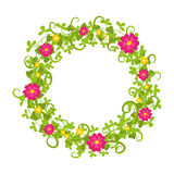 Floral circle isolated with grass swirls and red and yellow blooms isolated. Vector Royalty Free Stock Photography