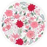 Floral circle made of different flowers Royalty Free Stock Image